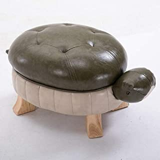 SYKONG Animal Ottoman Foot Rest Stool Solid Wood Footstool Creative Turtle Stool Leather Sofa Stool Foot Stool Test Shoes Stool Wealthy Lucky Door Change Shoe Bench (Color : Dark Green)