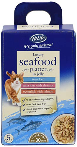 Hilife It's Only Natural Seafood Platter in Jelly Cat Food, 5x50g