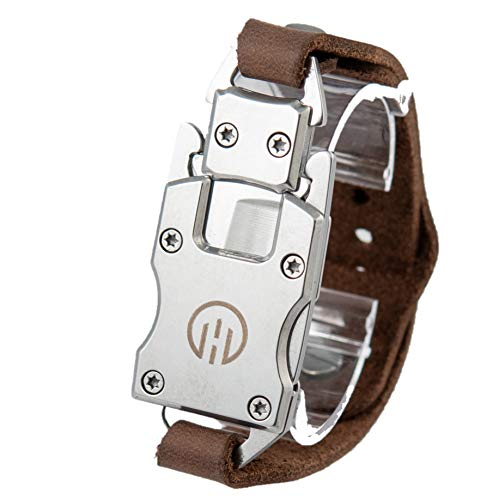 Higher Objects Sawyer Utility Mens Bracelet with Folding Knife, Screwdriver- Genuine Leather, Stainless Steel- One Size Fits All, Made In USA- Wearable Survival Gear for Outdoor Enthusiasts (Silver)