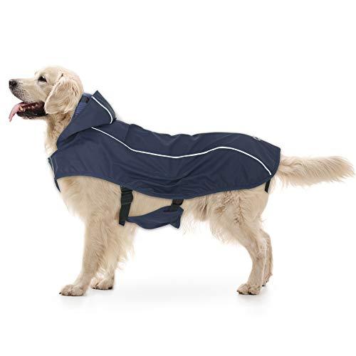 NINEMAX Dog Raincoat Waterproof Dog Jacket Coat Dog Raincoat with Hood for Cold Weather Rainy Day Reflective Vest Dog Rain Poncho for Medium Large Dogs (Navy Blue, M)