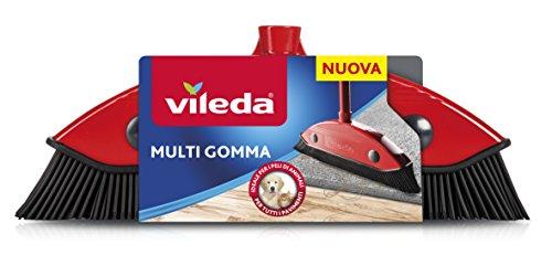 Vileda Scopa Multi Gomma, per Interni ed Esterni, Dura, in Gomma e Caucciù, Adatta per Peli d'Animale e Capelli, Rosso/Nero, 34 x 13,5 x 4 cm