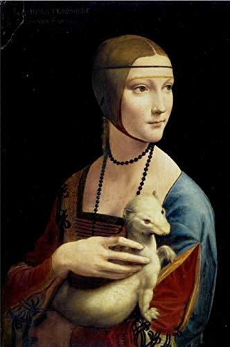 (Geen frame) 60x80 CM Canvas Home Decor Nordic Stijl De Dame Met Een Hermelijn Poster Wall Art Da Vinci Beroemde Schilderij Modulaire Foto Slaapkamer