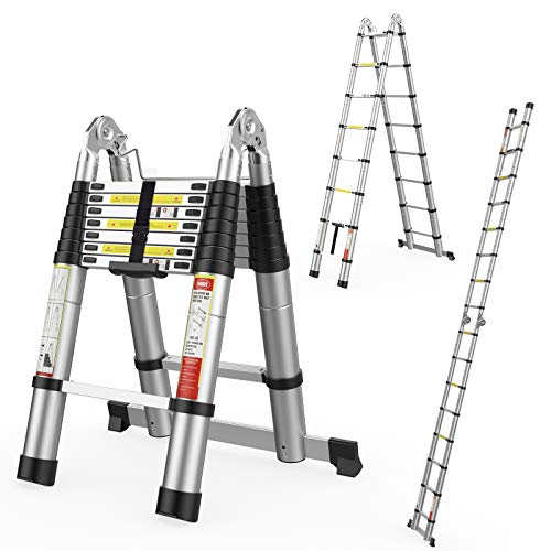 16.5FT Telescoping Extension Ladder 2-in-1,Multi-Purpose Aluminum Telescopic Ladders for Easy Storage