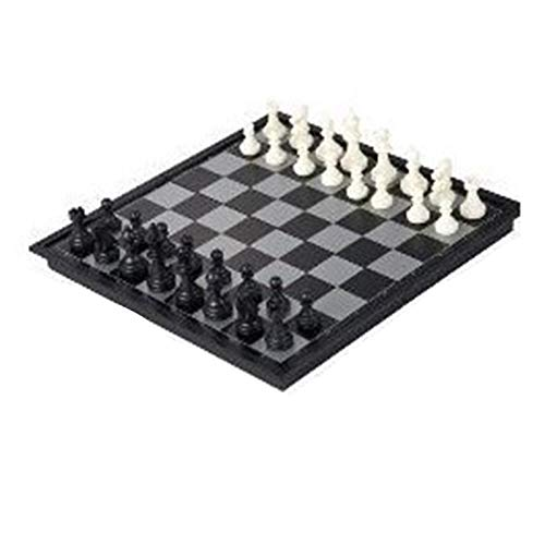 Beautymei Magnetic Travel Chess Set Creative Chess Plastic Chess Board Game Magnet Folding Checkerboard for Kids or Adults Chess Board for Kids or Adults Chess Board Game( black and white )
