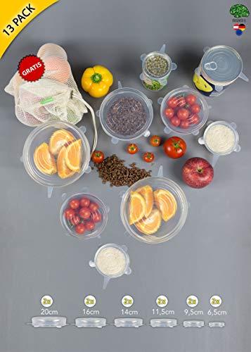 Silikondeckel Brainsell | Premium 13er Set | dehnbar, flexibel in deutscher LFGB Qualität | BPA-Frei|inkl. gratis Obst- und Gemüsebeutel aus Baumwolle