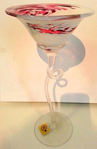Oberstdorfer Bougeoir moderne en verre sur pied long en forme de niche, rose, violet, blanc, tourné pour bougies sphériques soufflées à la bouche, hauteur env. 26-29 cm