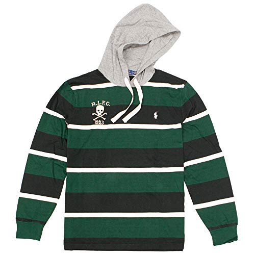 Polo Ralph Lauren Men's Skull Striped Cotton Hooded Rugby Shirt (Green, Large)