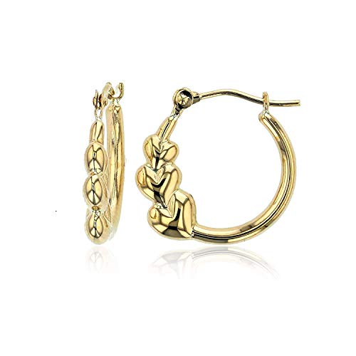 14K Yellow Gold Solid Polished Graduated Triple 3 Heart Hoop Earrings For Women and Girls, 2.50x15mm