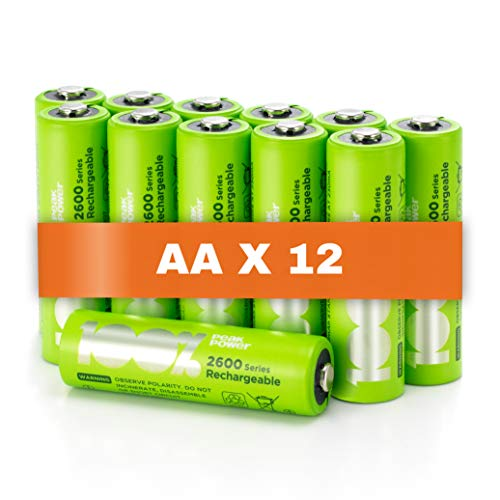 100% PeakPower Akku AA, 12 Stück AA Batterien wiederaufladbar, min. 2300mAh, NiMH Technologie ohne Memory-Effekt, 1,2 Volt (1,2V), LSD Technologie, Ready-to-Use