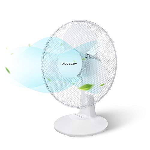 Aigostar Louis 33JTN - Ventilatore da tavolo, silensioso, 3 impostazioni di velocità, 40 cm, 2,2 kg, oscillazione di 80 gradi. Design esclusivo