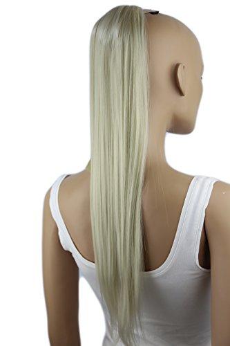 PRETTYSHOP 60cm Haarteil Zopf Pferdeschwanz Haarverlängerung Glatt Hellblond HC21
