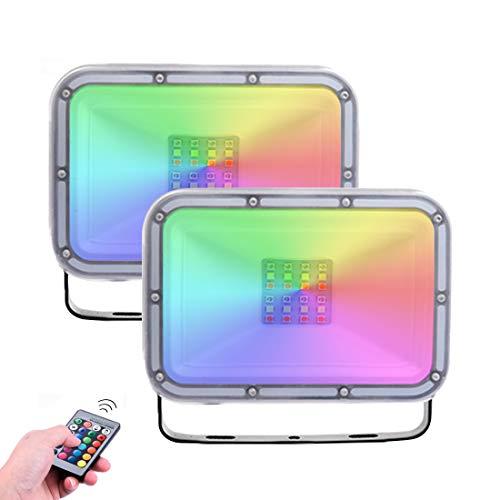 2 Pack 20W Foco Led RGB Con Función de Memoria, Impermeable IP67...