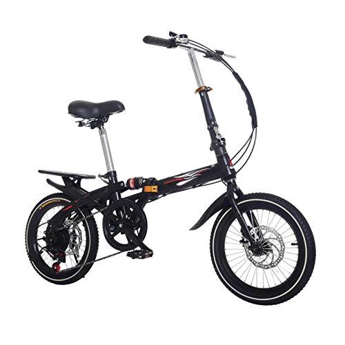 DDXY-Bicicleta Plegable para Niños Bicicleta Amortiguadora de Velocidad Variable de Una Rueda,Negro,14 Inch