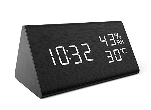AMIR Wooden Alarm Clock, Display Date Temperature & Humidity, 3 Levels Brightness Voice Control, Smart Voice-Activated with 3 Alarm Sounds for Home, Kitchen, Bedroom