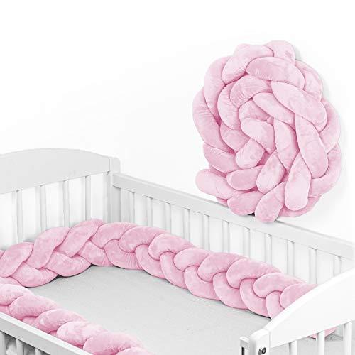 Bettschlange Baby geflochten Bettumrandung - Bettrolle für Babybett nestchen schlange Nestchenschlange Rosa 300 cm
