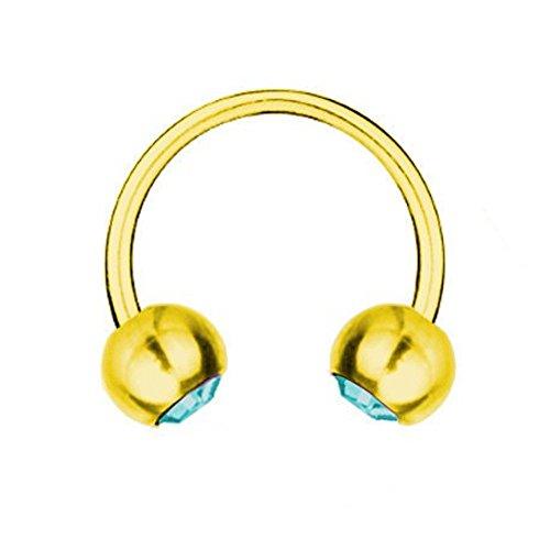 Piercing Barbell Circular en oro de titanio 1,2 mm, elementos de SWAROVSKI azul