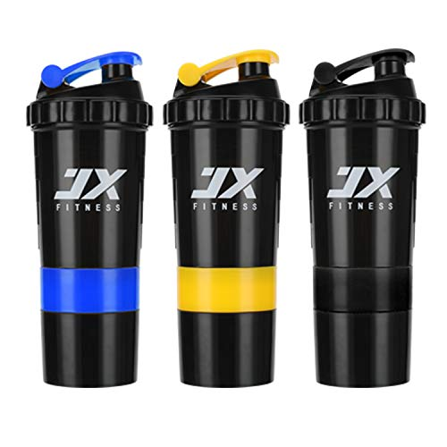 JX FITNESS Sports Protein Mixer Shaker Bottle - Leak Proof Sports Bottle- 16oz Shaker Cup with Measurement Mixing Grid- 5oz Split Twist Off Storage for Powder or Capsule- BPA Free