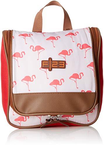 Friedrich|23 Kulturbeutel m.Henkel, F23, Flamingo, Polyester, Beige/Koralle Trousse de Toilette, 25 cm, 4 liters, Beige (Beige/Koralle)