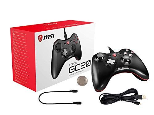 MSI Force GC20 (Gaming Controller mit Vibrationssystem, kabelgebunden, für PC, Android und div. Konsolen, schwarz, 240 Gramm)