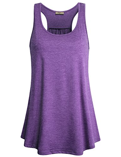 Cestyle Fitness Tank Top, Girls Summer Round Neck Racker Back Cruise Tunic Tanks Sleeveless Funny Leggings Shirts Lounge Clothes Purple Small