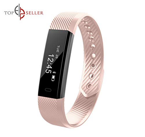 Fitness Trackers Smart Watch with Heart Rate and Blood Pressure Monitor, Activity Pedometer, Sleep, Step, and Calorie Counter Smart Band Bracelet (Pink)