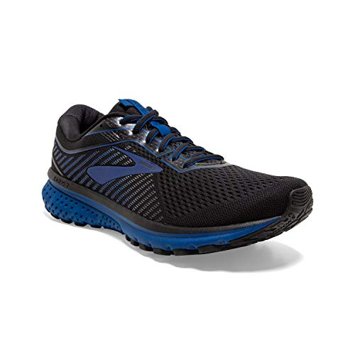 Brooks Mens Ghost 12 Running Shoe - Black/True Blue/Black - D - 11.0