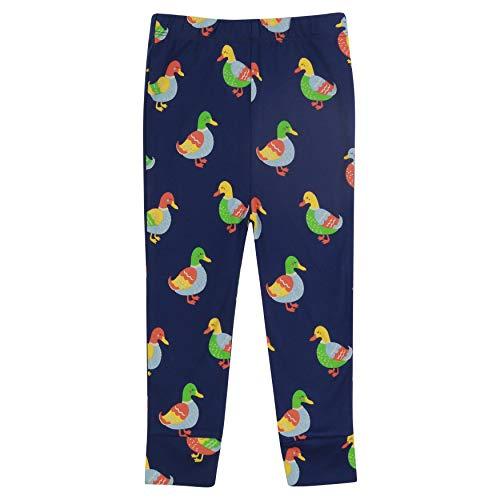 Piccalilly Fun Leggings pour enfants en jersey doux en coton biologique Unisexe Motif canard - Bleu - 6-12 mois