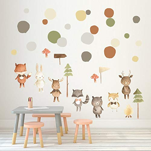 Muurstickers Stickers Dierlijk Cartoon DIY Muurstickers Kinderkamer Pine Fox Creatieve Sticker Decoratie