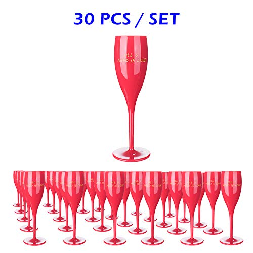 30Pcs Red Plastic Classicware Glasses |Wine Cups| Champagne Wedding Parties Toasting Flutes-Durable and Multipurpose DISPOSABLE/REUSABLE Cocktail Cups. Ideal for All PARTIES&EVENTS(AVAILABLE IN CLEAR)