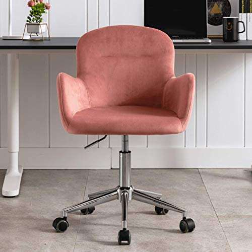 Velvet Accent Chair, Adjustable Swivel Armchair, Desk Chair, Makeup Chair with Casters, Pink