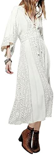 R Vivimos Women s Chiffon Print V Neck Beach High Waist Long Dresses Small White product image