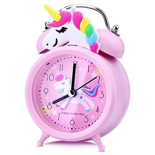 Aiong Reloj Despertador, Reloj Despertador Infantil Unicornio Rosa Campana Doble