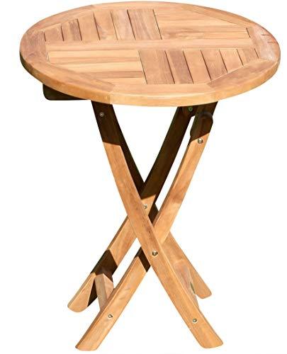 SAS AS-S Tavolo Pieghevole in Legno di Teak Tavolo Rotondo 60 cm Tavolo da Giardino COAMO60