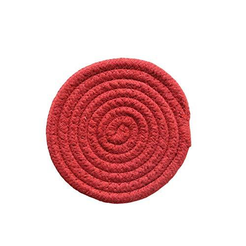 Manyao Handarbeit Baumwolle Seil Platzdeckchen Hand gesponnene Tischsets Servietten Geschirr Getränk Cup Coaster Isolierung Pad Küche Abendessen Wohnkultur (Color : Red, Size : Round)