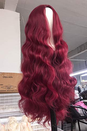 Wine Red Body Wave Wig for Black Women Long Wavy Big Curly Wig Heat Resist Synthetic Hair 28 inch #99j
