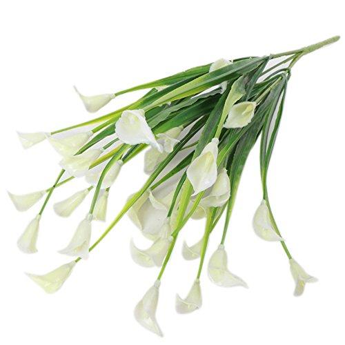 Verlike Blumenstrauß aus Calla-Lilien, künstliche Blumen, für Hochzeit, Party, Dekoration, fühlen sich echt an, Blumen, zum Basteln, Haus, Garten, 1 Stück weiß