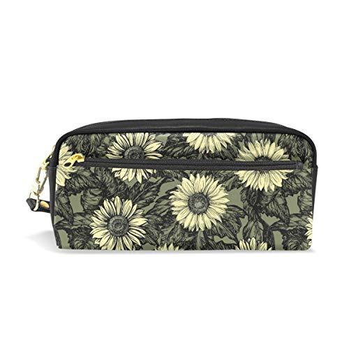 Pen Case Stationary Smiple Sunflower Vintage Pencil Bags Portable Pouch for School Kids Children Cosmetic Bag Makeup Beauty Case