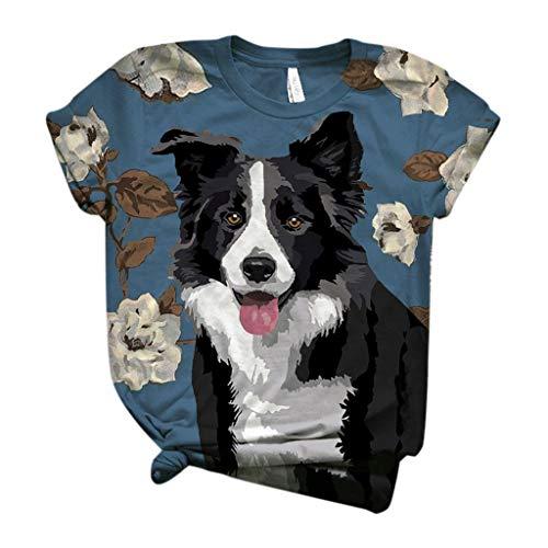 Womens Short Sleeve T Shirt Pet Dog Printed O-Neck T-Shirt Blouse Cute Graphic Tee Tops Black