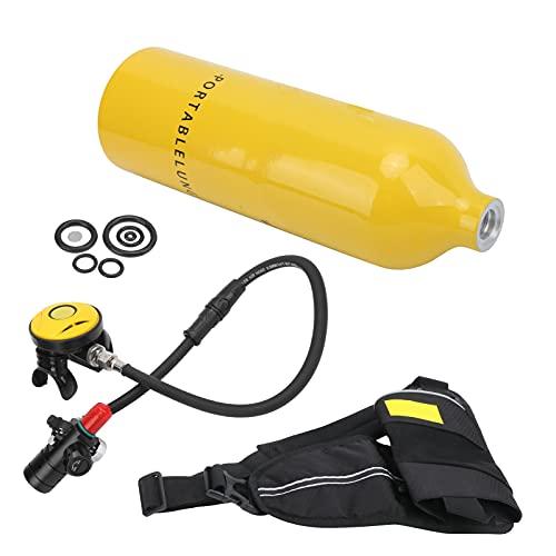 Kit de tanque, equipo de snorkel transpirable y duradero Resistencia al agua y resistencia a la corrosión Ampliamente aplicable para actividades subacuáticas(Botella de oxigeno amarilla)