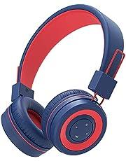 iClever Bluetooth słuchawki dziecięce, słuchawki dla dzieci z mikrofonem, regulacja głośności, regulowana opaska na czoło, składane, słuchawki dziecięce do szkoły