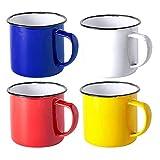 FUN FAN LINE - Set de Tazas metálicas Vintage o Retro presentada en Caja Individual (Multicolor, 4 Tazas)