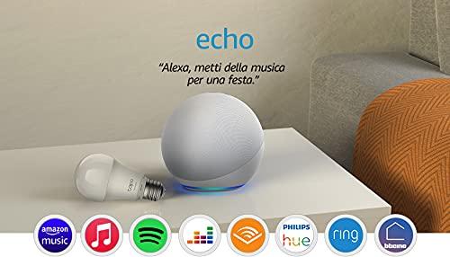 Echo (4ª generazione) - Audio di alta qualità - Bianco ghiaccio + TP-Link Tapo Lampadina Connessa (E27), compatibile con Alexa