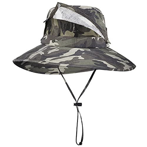 ROCK BROS Fishing Hat for Men Sun Protection Hats with Detachable Top Design UPF50+ Boonie Hats for Fishing Hiking Camping Camo-Green