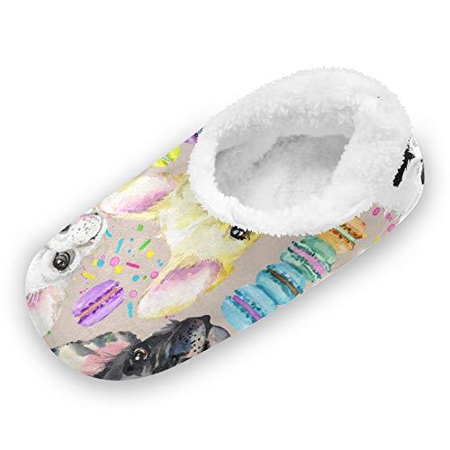 TropicalLife iRoad - Zapatillas de casa con diseño de macarones para perros, antideslizantes, cálidas, para casa, para mujeres y hombres, color, talla Large