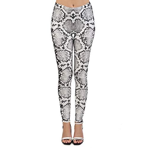 CHIC DIARY Leggings para mujer, piel de serpiente, estampados, leggins deportivos, elásticos, pantalones para correr, pantalones de entrenamiento, pantalones para fitness, yoga