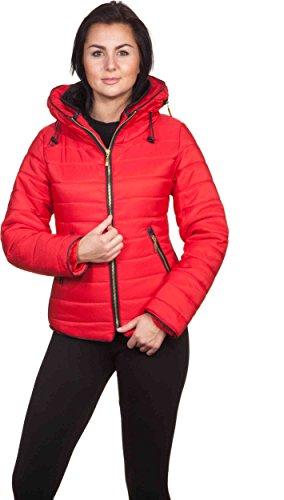 Loomiloo kurtka zimowa z kapturem, pikowana kurtka damska parka wysoki kołnierz, z podszewką i pikowana, zimowa kurtka zimowa 2017