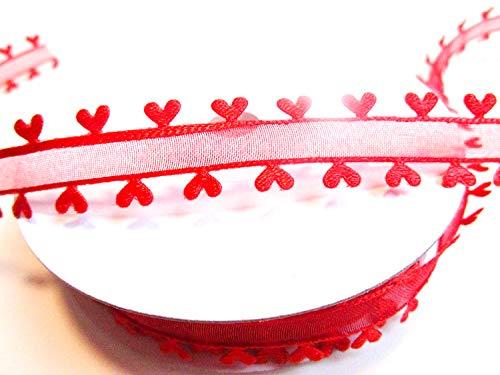 CaPiSo 10m Organza 15mm mit Herz Geschenkband Herzen Dekoband Herzband Organzaband Hochzeit Weihnachten (Rot)