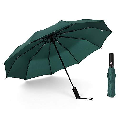 JOURNOW Windproof Travel 10 Ribs Umbrella with 210T Heavy Coating (Dark Green)
