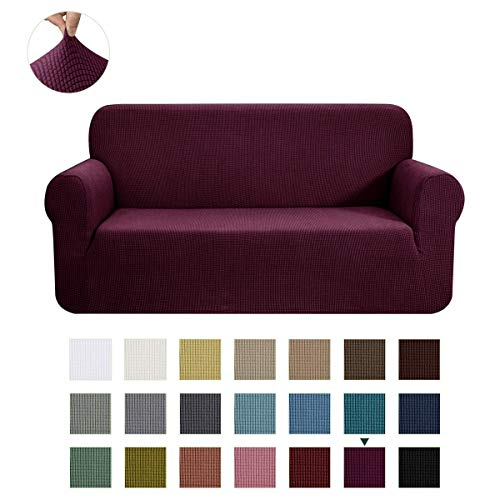 CHUN YI Stretch Sofa Slipcover 1-Piece Couch Cover Furniture Protector, 3 Seater Coat Soft with Elastic Bottom, Checks Spandex Jacquard Fabric, Large, Dark Magenta