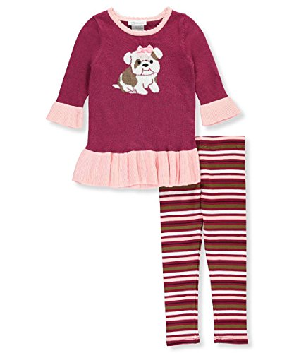 Bonnie Jean Girls Frenchie Bull Dog Sweater Set (2t-6x) (4)
